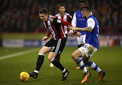 John Lundstram of Sheffield United takes on Daniel Pudil of Sheffield Wednesday - Mandatory by-line: Robbie Stephenson/JMP - 12/01/2018 - FOOTBALL - Bramall Lane - Sheffield, England - Sheffield United v Sheffield Wednesday - Sky Bet Championship