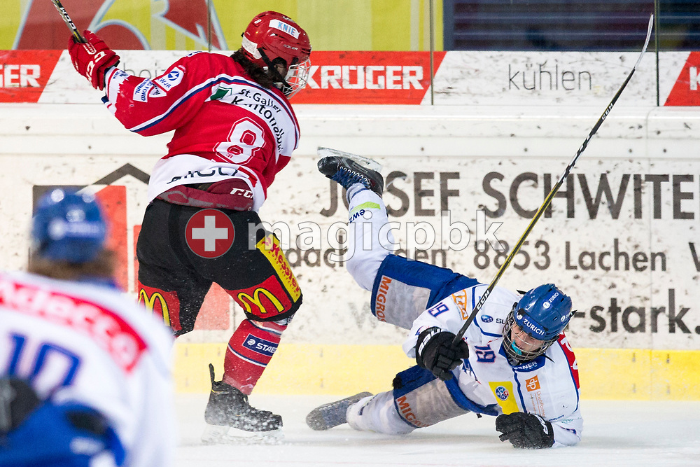 Rapperswil-Jona Lakers forward Kyen Sopa (L) against ZSC Lions forward Dimitry Mokry during the third Elite B Playoff Final ice hockey game between Rapperswil-Jona Lakers and ZSC Lions held at the SGKB Arena in Rapperswil, Switzerland, Wednesday, Mar. 15, 2017. (Photo by Patrick B. Kraemer / MAGICPBK)