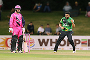 Stags Ajaz Patel celebrates the dismissal of Knights Anton Devcich during the Burger King Super Smash Twenty20 cricket match Knights v Stags played at Bay Oval, Mount Maunganui, New Zealand on Wednesday 27 December 2017.<br /> <br /> Copyright photo: &copy; Bruce Lim / www.photosport.nz