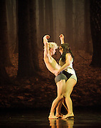 In The Spirit of Diaghilev<br /> world premier<br /> at Sadler's Wells, London, Great Britain<br /> rehearsal<br /> 13th October 2009 <br />  <br /> <br /> Sidi Larbi Cherkaoui : Faun<br /> <br /> James O'Hara<br /> Daisy Phillips<br /> <br /> <br /> <br /> Photograph by Elliott Franks