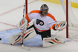Jan 22, 2013; Newark, NJ, USA; Philadelphia Flyers goalie Ilya Bryzgalov (30) makes a save during the second period of their game against the New Jersey Devils at the Prudential Center.