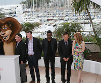 Chris Rock, Ben Stiller and Jessica Chastain at the Madagascar 3: Europe's Most Wanted photocall at the 65th Cannes Film Festival. Friday 18th May 2012 in Cannes Film Festival, France.