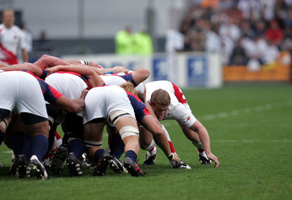 Tom Reese helps the pack during a scrum. England v USA, Game 4, Rugby World Cup 2007, Lens, France, 8th September 2007.