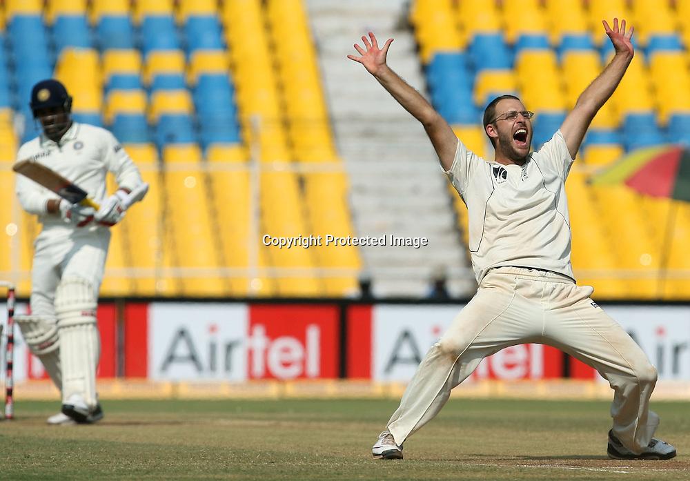 New Zealand Captain Daniel Vettori Celebrates Indian Batsman Zaheer Khan Wicket During The 1st Test India vs New Zealand Played at Sardar Patel Stadium, Motera, Ahmedabad