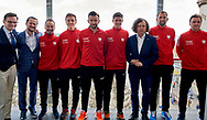 Sopot, Poland - 2018 April 06: (L-R) Mikolaj Franas and trainer coach Rafal Chrzanowski and Radoslaw Szymanik - captain national team and Daniel Michalski and Michal Przysiezny Kamil Majchrzak and Jacek Karnowski President of City Sopot and Lukasz Kubot and Marcin Matkowski all from Poland pose to the picture while Meet & Greet event one day before Poland v Zimbabwe Tie Group 2, Europe/Africa Second Round of Davis Cup by BNP Paribas at 100 years of Sopot Hall on April 06, 2018 in Sopot, Poland.<br /> <br /> Mandatory credit:<br /> Photo by © Adam Nurkiewicz / Mediasport<br /> <br /> Adam Nurkiewicz declares that he has no rights to the image of people at the photographs of his authorship.<br /> <br /> Picture also available in RAW (NEF) or TIFF format on special request.<br /> <br /> Any editorial, commercial or promotional use requires written permission from the author of image.