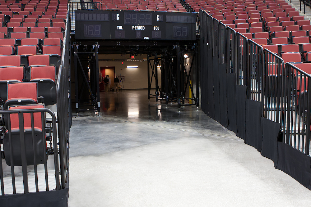 August 29, 2013: Huskers take the court from this entrance. Pinnacle Bank Arena in Lincoln, Nebraska.