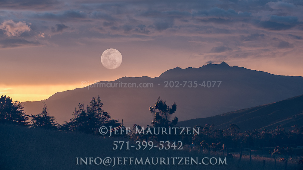 In-camera double exposure of the full moon over the Ecuadorian Andes.