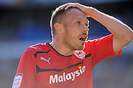 Cardiff city's Craig Bellamy reacts after missing a chance at goal. NPower championship, Cardiff city v Blackpool at the Cardiff city Stadium in Cardiff, South Wales on Saturday 29th Sept 2012.   pic by  Andrew Orchard, Andrew Orchard sports photography,