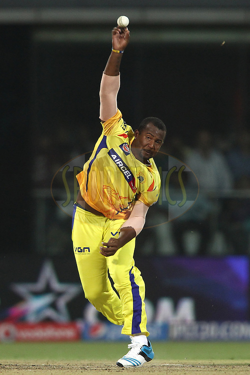Dwayne Smith of The Chennai Super Kings sends down a delivery during match 26 of the Pepsi Indian Premier League Season 2014 between the Delhi Daredevils and the Chennai Super Kings held at the Feroze Shah Kotla cricket stadium, Delhi, India on the 5th May  2014<br /> <br /> Photo by Shaun Roy / IPL / SPORTZPICS<br /> <br /> <br /> <br /> Image use subject to terms and conditions which can be found here:  http://sportzpics.photoshelter.com/gallery/Pepsi-IPL-Image-terms-and-conditions/G00004VW1IVJ.gB0/C0000TScjhBM6ikg