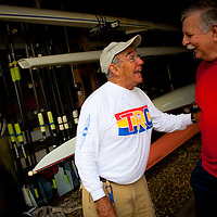 TAMPA, FL  -- Bill Williamson of Tampa, right, shares a laugh with president George Rodriguez in the boathouse of the Tampa Bay Rowing Club on the University of Tampa campus under the Cass Street Bridge in Tampa, Florida. (Chip Litherland for Bay Magazine)