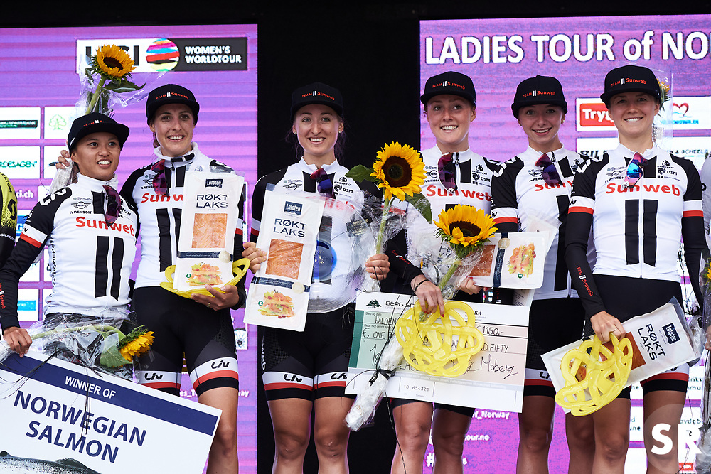 Winners, Team Sunweb on the podium at Ladies Tour of Norway 2018 Team Time Trial, a 24 km team time trial from Aremark to Halden, Norway on August 16, 2018. Photo by Sean Robinson/velofocus.com