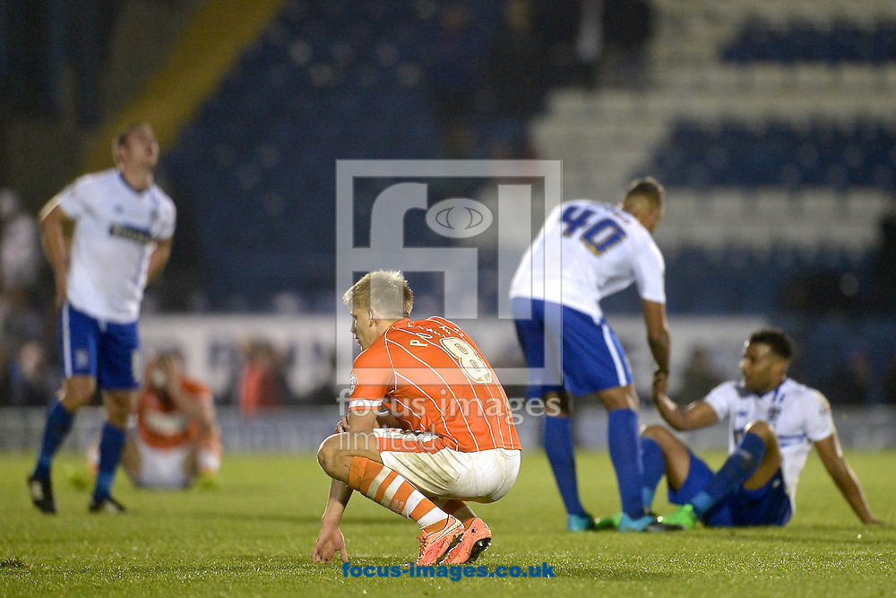 Brad Potts of Blackpool is disappointed following the Sky Bet League 1 match at Gigg Lane, Bury<br /> Picture by Ian Wadkins/Focus Images Ltd +44 7877 568959<br /> 31/10/2015