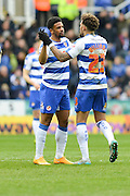 Reading FC midfielder Danny Williams congratulates Reading FC striker Gareth McCleary during the Sky Bet Championship match between Reading and Cardiff City at the Madejski Stadium, Reading, England on 19 March 2016. Photo by Mark Davies.
