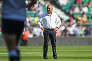England coach Eddie Jones looks on during warm ups during the England vs Ireland warm up fixture at Twickenham, Richmond, United Kingdom on 24 August 2019.