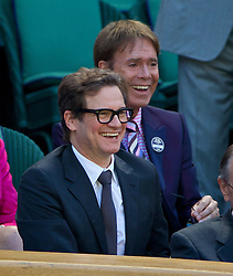LONDON, ENGLAND - Thursday, July 3, 2014: Colin Firth and Cliff Richard during the Ladies' Singles Semi-Final match on day ten of the Wimbledon Lawn Tennis Championships at the All England Lawn Tennis and Croquet Club. (Pic by David Rawcliffe/Propaganda)