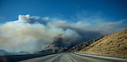 August 16, 2016 - A view from the Northbound 15 Freeway as the Blue Cut Fire rages through San Bernardino County Tuesday August 16, 2016. The fire has scorched at least 18,000 acres and forced 82,000 people to evacuate their homes in San Bernardino County.<br /> ©Exclusivepix Media