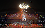 16.08.2014. Nanjing, China. Performers from Songshan Shaolin Tagou Martial Arts School at Dengfeng, Henan Province perform aerial stunts during the Nanjing 2014 Youth Olympic Games opening ceremony in Nanjing, capital of east Chinas Jiangsu Province.