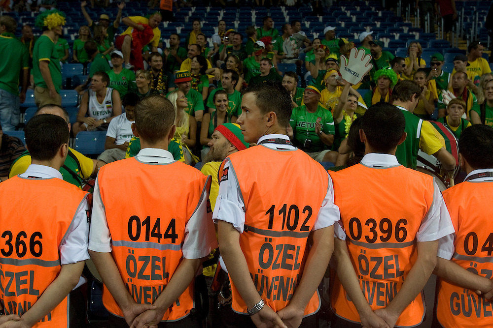 Security guards watch over fans at the world basketball champs, Istanbul, Turkey, Wednesday, September 08, 2010. Credit:SNPA / Ben Campbell