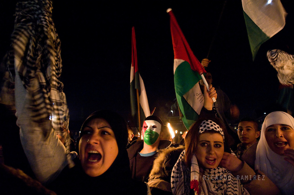 22.11.12. Copenhagen, Denmark.  Support Gaza protest demonstration in solidarity with the Palestinian people in front of the Danish Parliament.Photo: © Ricardo Ramirez