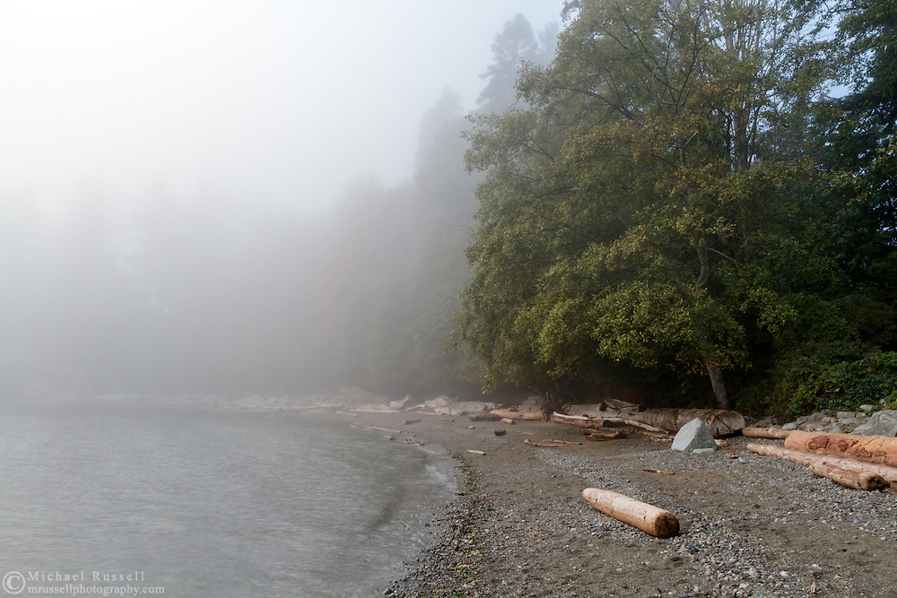 A foggy day at the beach at Whytecliff Park in West Vancouver, British Columbia, Canada.