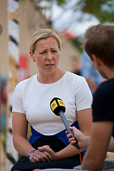 CARDIFF, WALES - Thursday, August 9, 2018: Wales manager Jayne Ludlow is interviewed by BBC after announcing her squad for the final FIFA Women's World Cup 2019 Qualifying Round Group 1 match against England at the Eisteddfod in Cardiff Bay. (Pic by David Rawcliffe/Propaganda)
