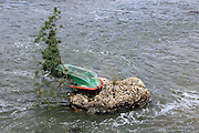 a rowing boat that is dragged by a strong water currency against a tree on a rock