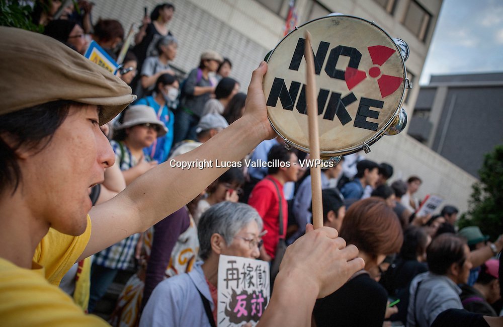 Anti-nuclear demonstration in front of the headquarters of Japan´s Government (Kokkai or Diet).Tokyo.Japan