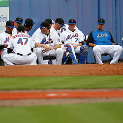 March 6, 2011; Port St. Lucie, FL, USA; New York Mets pitchers and catches sit in the bullpen before a spring training exhibition game against the Boston Red Sox at Digital Domain Park.  Mandatory Credit: Derick E. Hingle