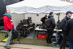 Numerous television and radio broadcasters have large, sophisticated set-ups in tents on College Green, opposite the Houses of Parliament in London as the world's media follows the seismic events surrounding Bitain's proposed exit from the European Union. London, January 16 2019.