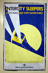 © Licensed to London News Pictures. 03/12/2011, London, UK. A poster advertising Saver Fares available on the Intercity Sleeper service. Staff working at Richmond Station in London have uncovered railway posters from the late 1980's whilst upgrading poster holders. Photo credit : Stephen Simpson/LNP