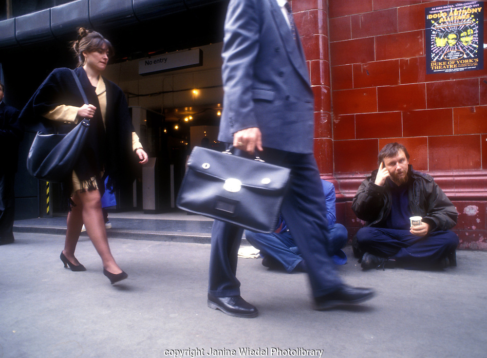 Man begging near Covent Garden Underground Station Central London.