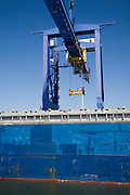 Detail of blue container crane, Port of Rotterdam, Netherlands