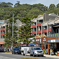 Retailers in Lorne on Great Ocean Road, Australia<br /> Lorne is a resort town and art community. The stores cater primarily to drive-by tourists and surfers plus campers headed towards the quarter-million-acre Great Otway National Park. The boutique shops hug the west side of Mountjoy Parade, Lorne's equivalent of Main Street. On the opposite side are parks, playgrounds, greenspaces and Lorne Beach. The township was formed and named in 1871, the same year John Campbell, the Marquees of Lorne and later Governor General of Canada, married Queen Victoria's fourth daughter.