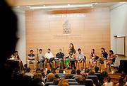 LA DIRIGENTE ESTUDIANTIL CAMILA VALLEJO, PARTICIPA DE UN FORO POLITICO EN LA CARRERA POR LA PRESIDENCIA DE LA FEDERACION DE ESTUDIANTES DE LA UNIVERSIDAD DE CHILE, FECH. 25-11-2011 (©Alvaro de la Fuente/TRIPLE)(Alvaro de la Fuente/TRIPLE.cl)