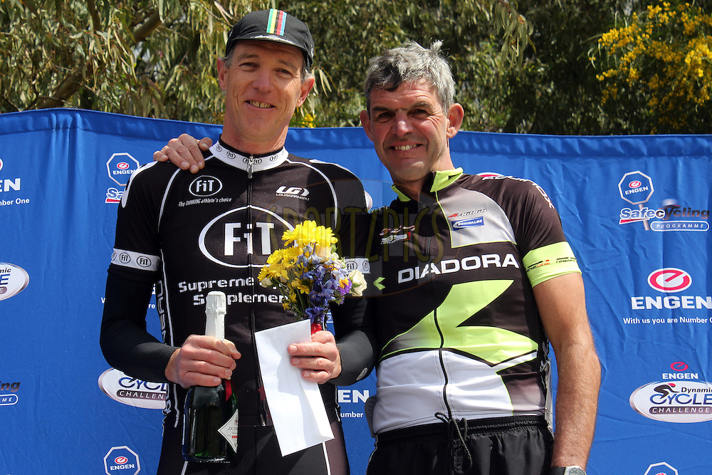 Winner of the Mens 50+ event Willem Vegter with runner-up Leon Bell during the Engen Dynamic Cycle Challenge held at the Nelsons Creek Wine Estate in Wellington, South Africa on the 7th October 2012. Photo by Jacques Rossouw/SPORTZPICS