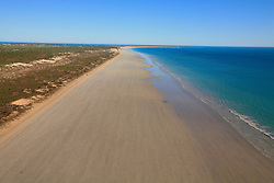 The turquoise waters of the Indian Ocean meet long stretches of sand on Broome's Cable Beach.