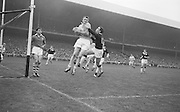 All Ireland Senior Football Final Galway v. Dublin 22nd September 1963 Croke Park..Dublin Full Back L. Foley catchs a high ball near own goalmouth and returns to earth with Galway Full Forward S. Cleary on right ..22.09.1963  22nd September 1963Dublin.1-9.Galway.0-10..P. Flynn, L. Hickey, L. Foley, W. Casey, D. McKane, P. Holden, M. Kissane, D. Foley (Captain), John Timmons, B. McDonald, Mickie Whelan, G. Davey, S. Behan, D. Ferguson, N. Fox..Sub: P. Downey for P. Holden..D. Foley (Captain).
