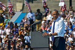 President Barack Obama campaigns for Democratic Presidential candidate Hillary Clinton at a September 13, 2016 rally at the foot of the Art Museum Steps in Philadelphia, Pennsylvania.