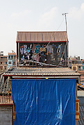 Laundry and television aerial on a Tube House, Long Bien, Hanoi, Vietnam