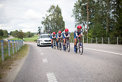 Riders of the Cervélo-Bigla Cycling Team dig deep during the 42,5 km team time trial of the UCI Women's World Tour's 2016 Crescent Vårgårda women's road cycling race on August 19, 2016 in Vårgårda, Sweden. (Photo by Balint Hamvas/Velofocus)