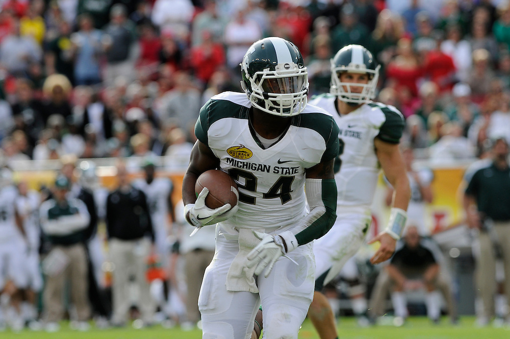 January 2, 2012: Le'Veon Bell of Michigan State in action during the NCAA football game between the Michigan State Spartans and the Georgia Bulldogs at the 2012 Outback Bowl at Raymond James Stadium in Tampa, Florida. The Spartans defeated the Bulldogs 33-30.