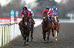 Fabricate ridden by Andrea Atzeni (left) wins the Better Odds With Matchbook Magnolia Stakes during the Easter Family Fun Day at Kempton Park Racecourse.