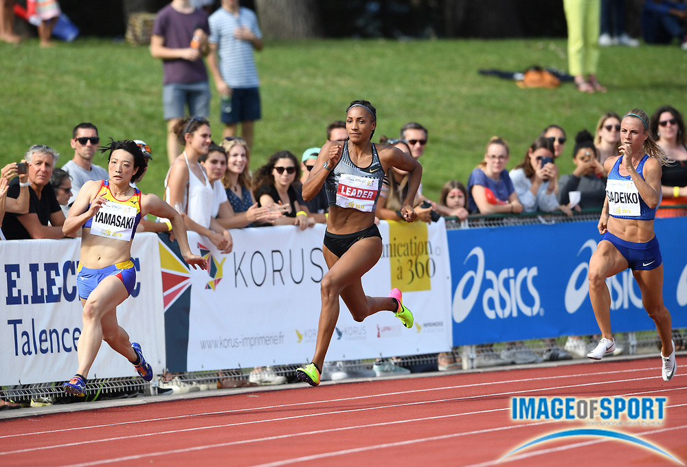Nafi Thiam aka Nafissatou Thiam (BEL), center, runs 24.55 in the heptathlon 200m during the DecaStar meeting, Friday, June 22, 2019, in Talence, France. Thiam won with 6,819 points. From left: Yuki Yamasaki (JPN), Thiam and Grit Sadeiko (EST). (Jiro Mochizuki/Image of Sport via AP)