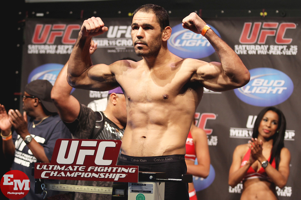 September 24, 2010; Indianapolis, IN; USA;  Rogerio Nogueira weighs in for his upcoming bout at UFC 119 at the Conseco Fieldhouse in Indianapolis, IN.