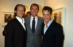 Left to right, JAKE PARKINSON-SMITH grandson of Norman Parkinson, TIM JEFFERIES and MATTHEW MELLON at a party to celebrate the opening of an exhibition of photographs by the late Norman Parkinson held at Hamiltons gallery, 13 Carlos Place, London W1 on 14th September 2004.<br />