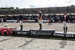 Podium ZZ zwaar, Van Silfhout Diederik, Scholtens Emmelie, Boer Diana, (NED)<br /> ZZ Zwaar finale<br /> Dutch Championship Dressage - Ermelo 2015<br /> © Hippo Foto - Dirk Caremans<br /> 18/07/15
