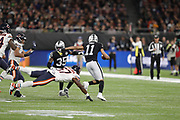 Curtis Riley (S) of the Oakland Raiders Kevin Pierre-Louis (LB) of the Chicago Bears during the International Series match between Chicago Bears and Oakland Raiders at Tottenham Hotspur Stadium, London, United Kingdom on 6 October 2019.