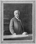 Hermann Ludwig Ferdinand von Helmholtz (1821-1894). German physicist and physiologist, giving a lecture on 7 July 1894. Opthalmascope