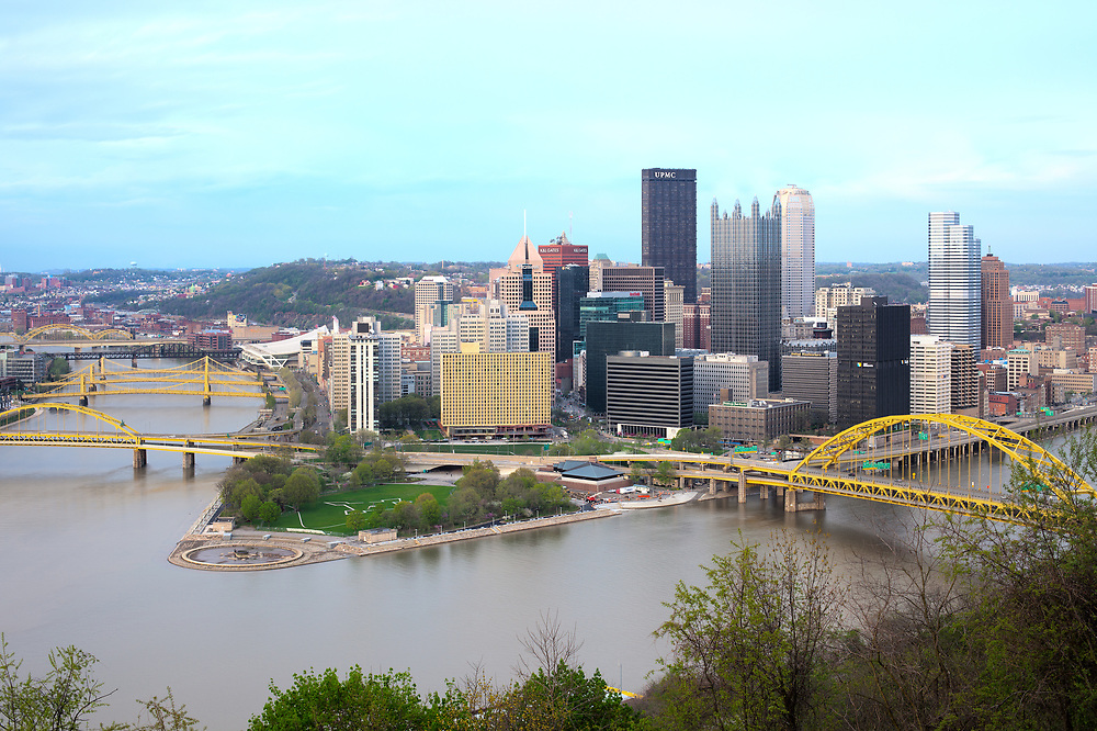 Pittsburgh, Pennsylvania, United States - April 26, 2011: Panoramic view of Central Business District of Pittsburgh and the 3 rivers.