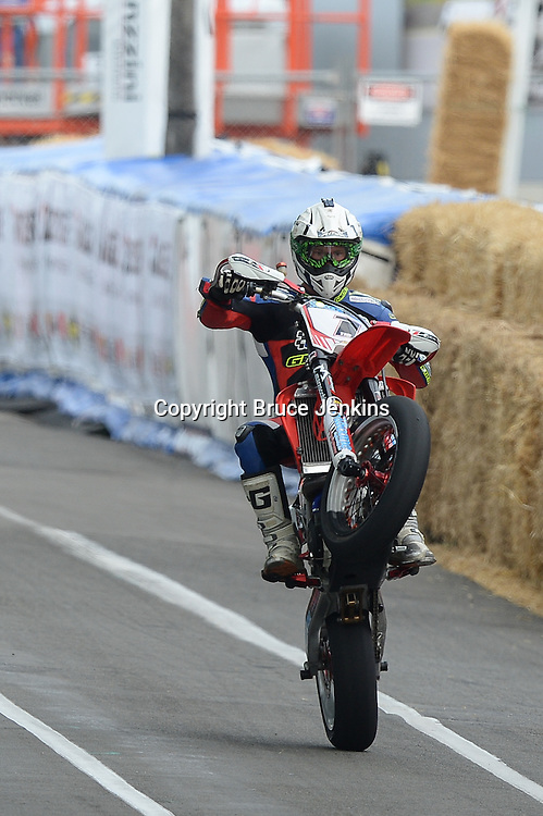Richard Dibben from Wanganui wins the Supermoto race at the Cemetery Circuit Road Races, Wanganui, Boxing Day which was the 3rd and final round of the 2014 Suzuki Series
